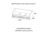 ДМ-09 Кровать (Без матраца 0,9*2,0 )